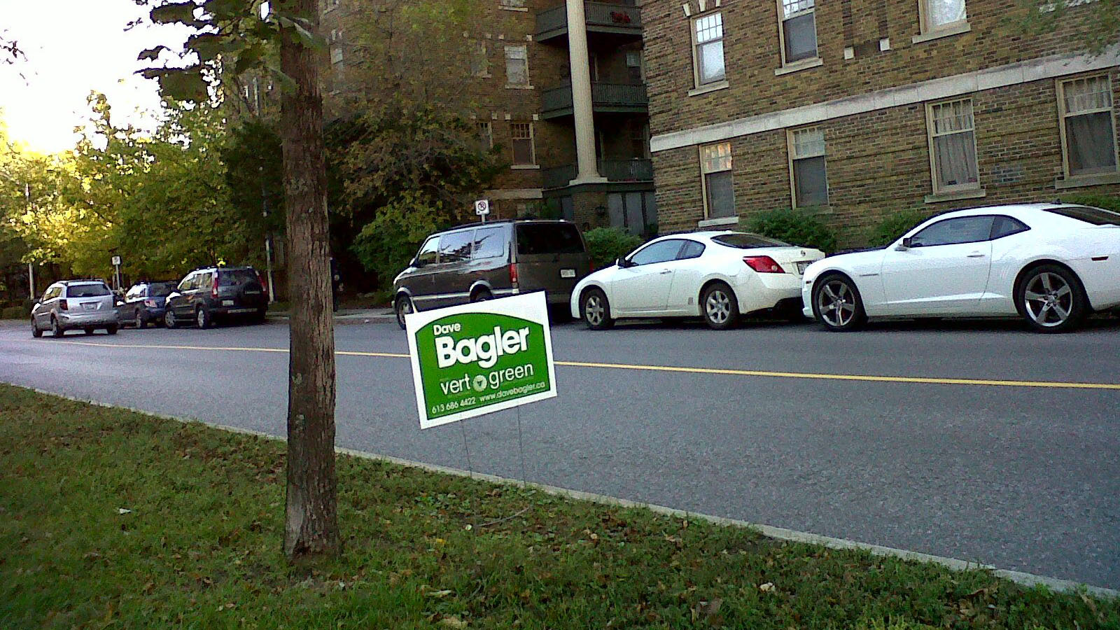 A Dave Bagler lawn sign next to the street.